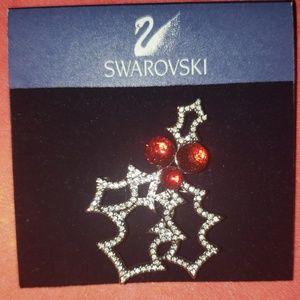 Swarovski Auth. Christmas Mistletoe Brooch PIN NWT